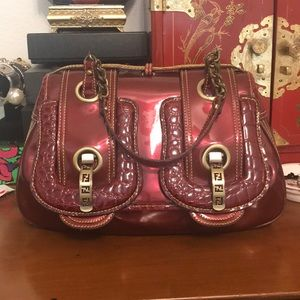 -FENDI- RARE. Patent leather double buckle bag